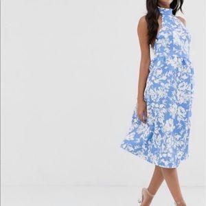 ASOS BLUE AND WHITE HALTER DRESS